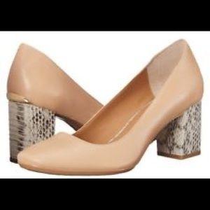 d81be68aa00 Calvin Klein Shoes - Calvin Klein Cirilla Nude Pump Snake Block Heel